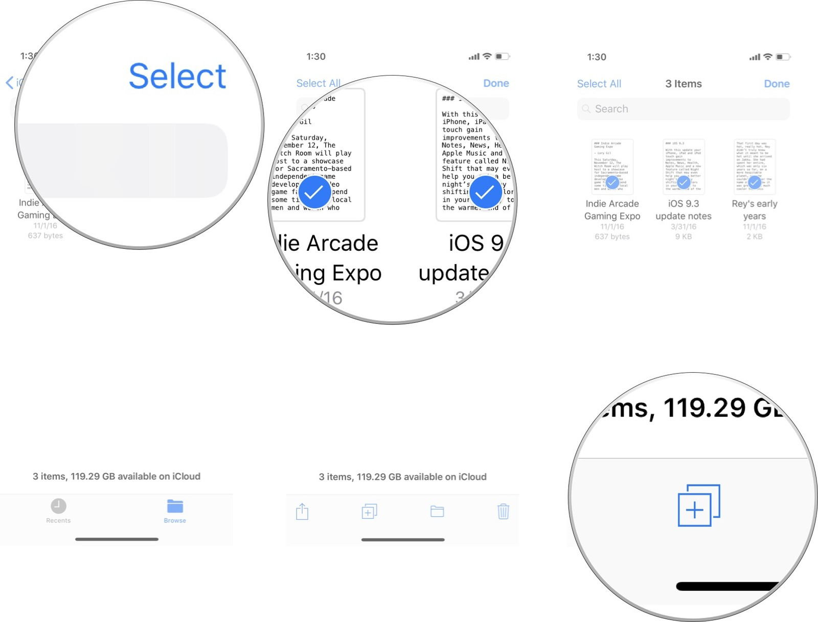 tap on Select, then select files, then tap the Copy icon