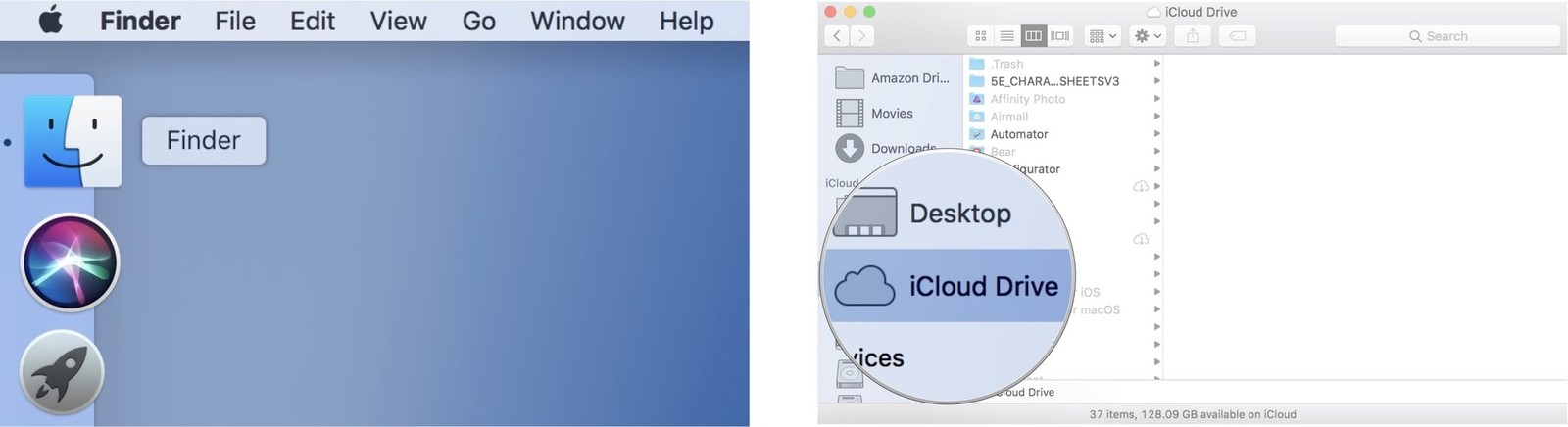 Launch Finder, then click on iCloud Drive