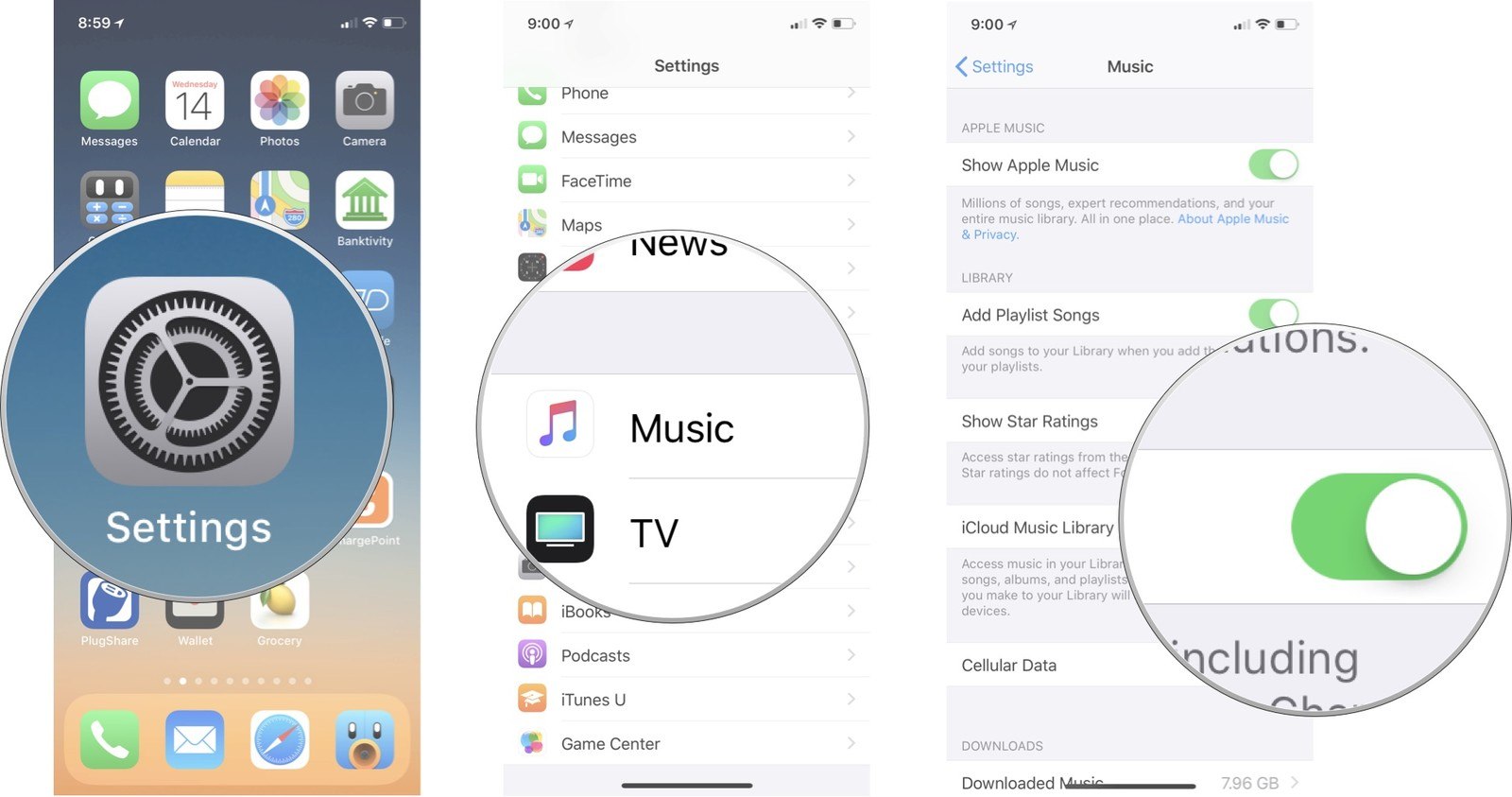 Open settings, tap Music, then turn on iCloud Music Library