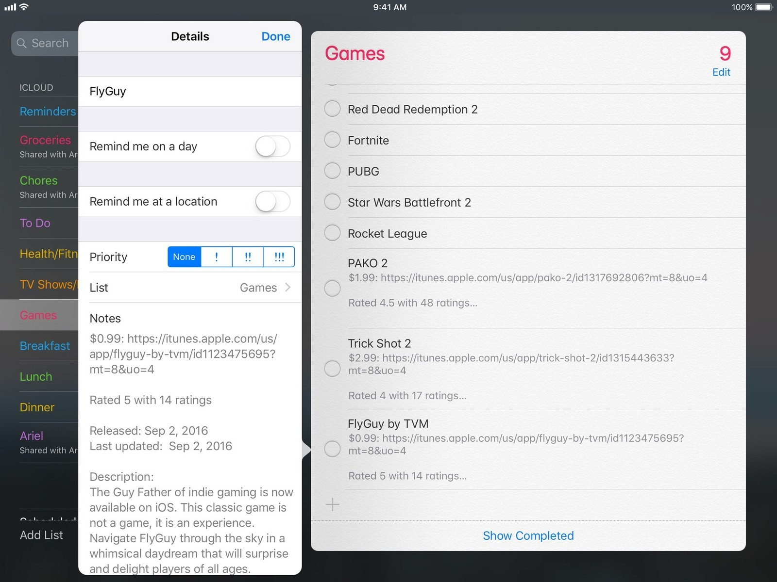 Screenshot of Games reminders list showing iOS games updated with more information after running the workflow
