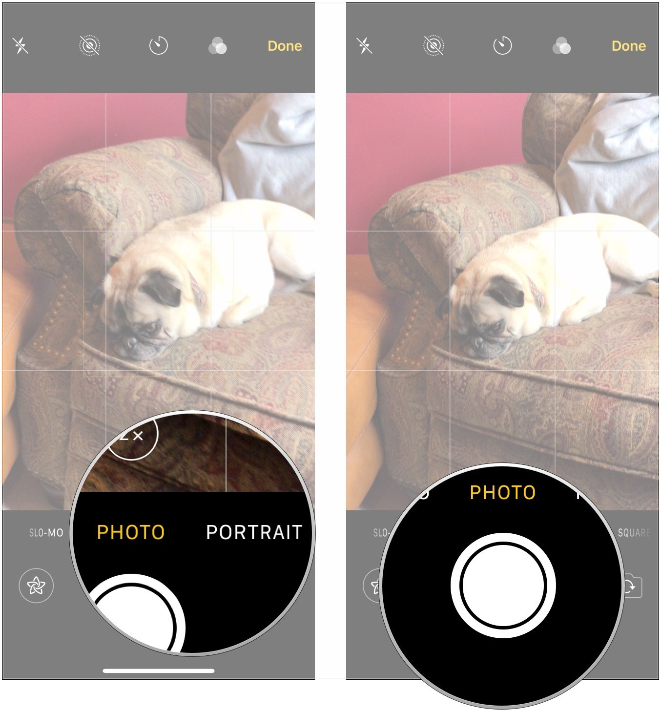 Choose photo or video type, take photo or video