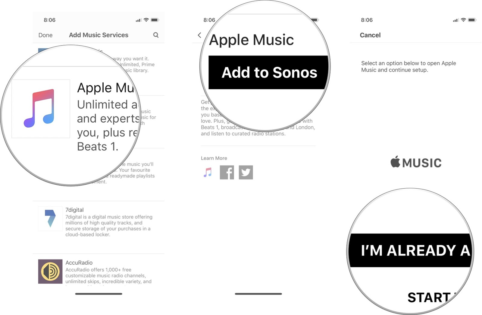 Select a music service, then tap Add to Sonos, then tap the button to connect to the service
