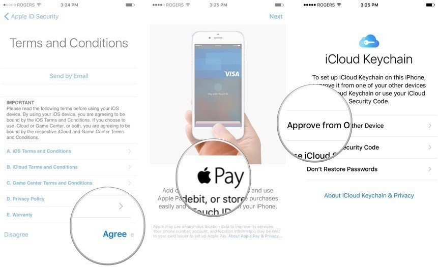 Agree to the terms and conditions, set up Apple Pay, then set up iCloud Keychain