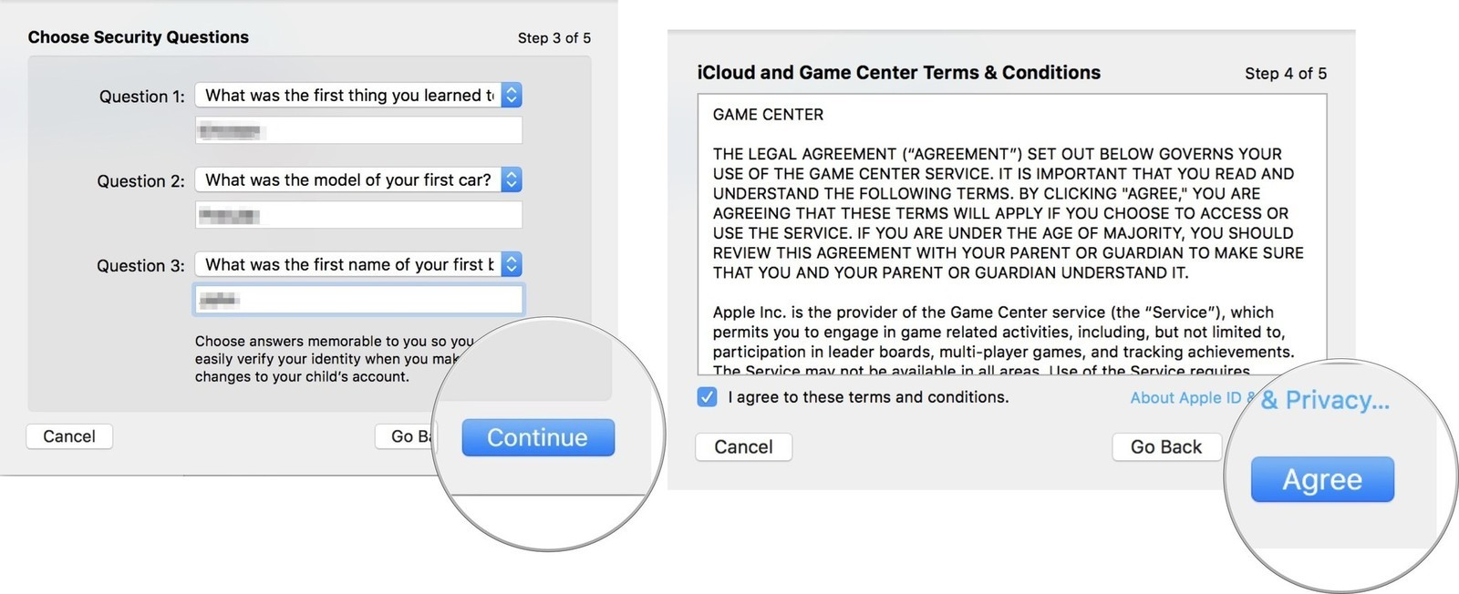 Enter your security questions and answers, then click continue, then agree to Apple's T&C, then click Continue