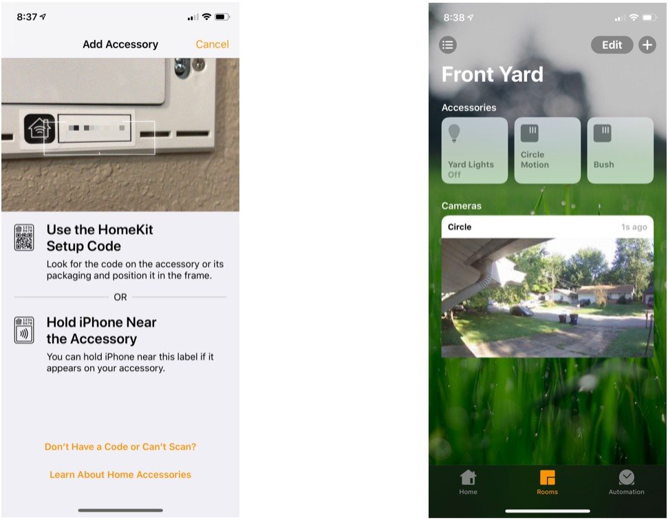 Follow the prompts to add your Logitech Circle 2 camera to your HomeKit setup.