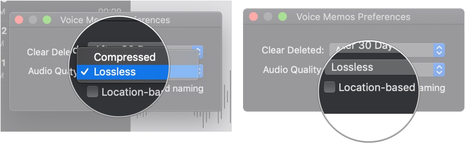 Click drop-down for audio quality, click checkbox