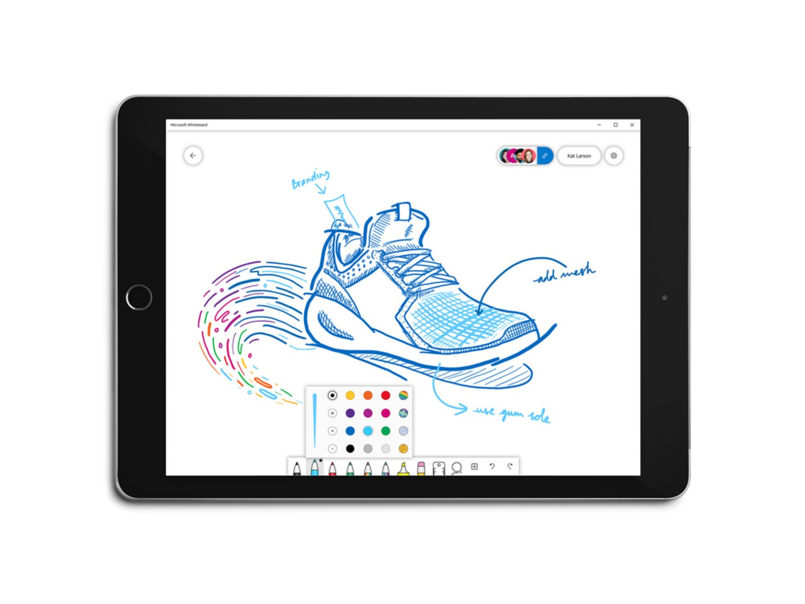 Microsoft Whiteboard adds new pen and background colors, grid lines, and more