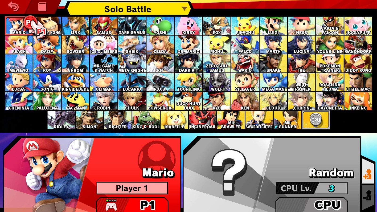 The full Smash Bros Ultimate roster