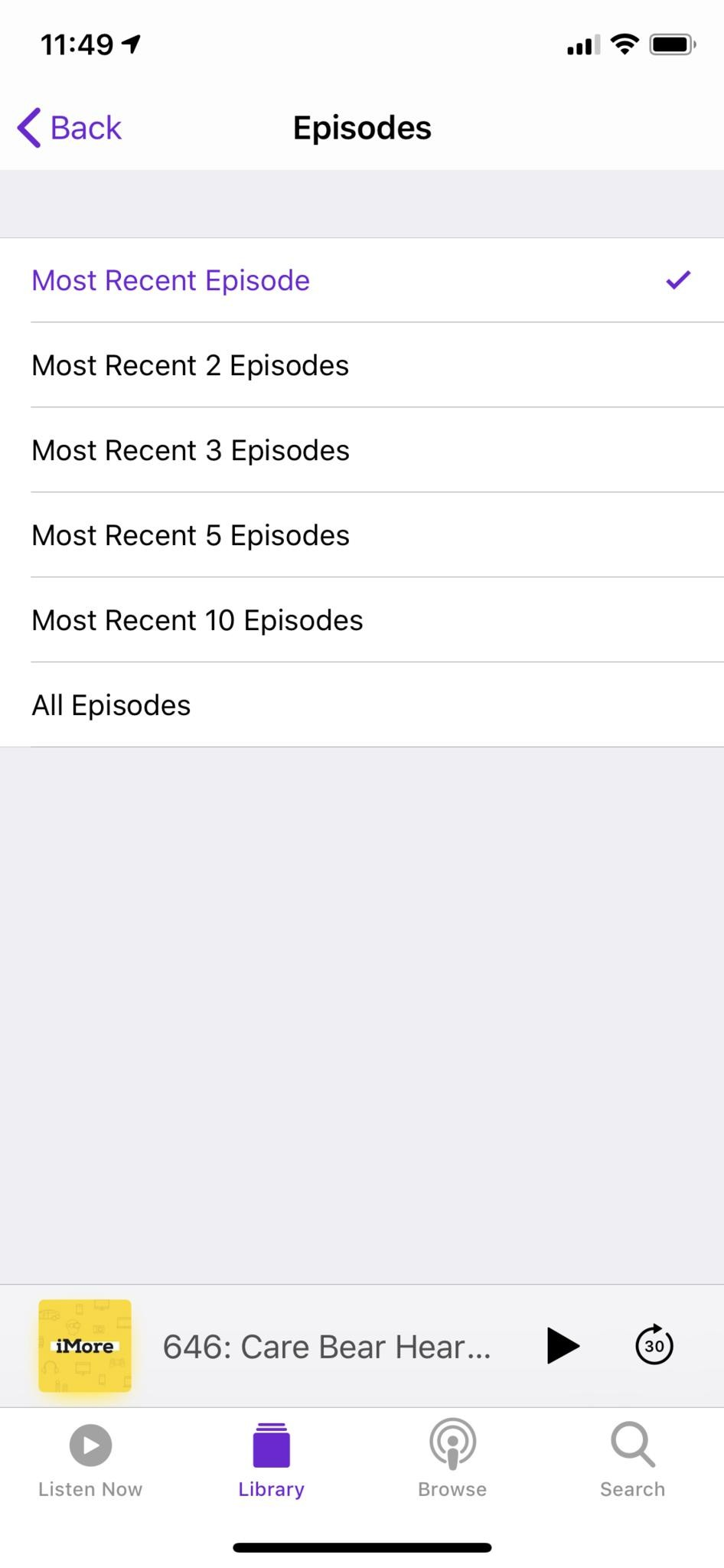 Apple Podcasts app station settings choose how many episodes
