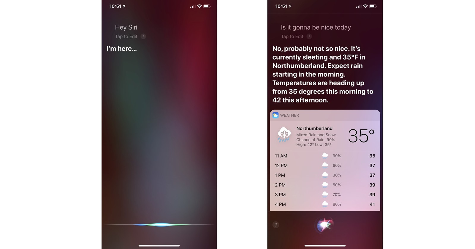 check the weather with siri