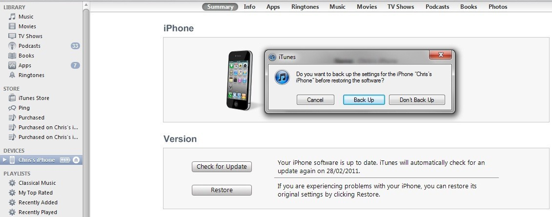 what does it mean to restore ipod