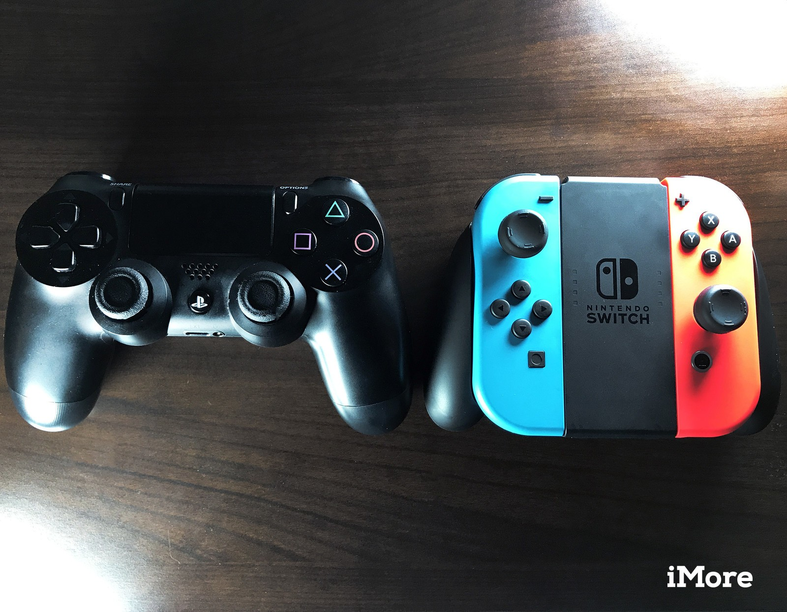 PlayStation controller vs. Nintendo Switch Joy-Con Grip