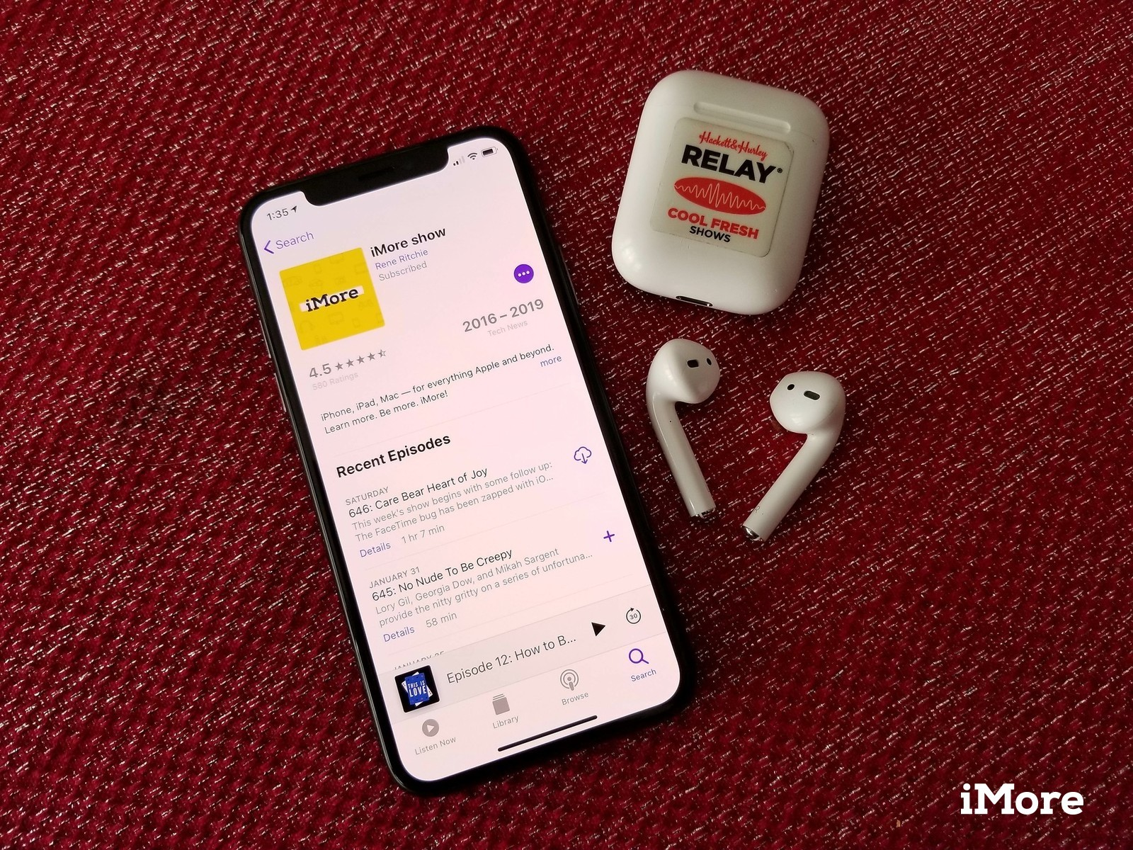 Apple Podcasts app showing off iMore Show with AirPods on red tablecloth